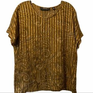 Ellen Tracy Linda Allard silk metallic blouse 12